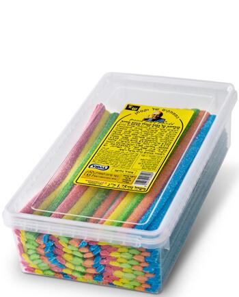 לקריץ שטוח בטעם פירות, בחמישה פסים בצבעים שונים, מצופה סוכר